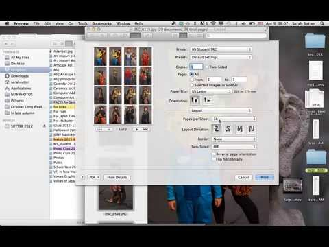 Printing multiple jpg files on one page mac