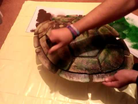 TMNT Turtle Shell Costume Build - Part 3 - PAINTING DEMO