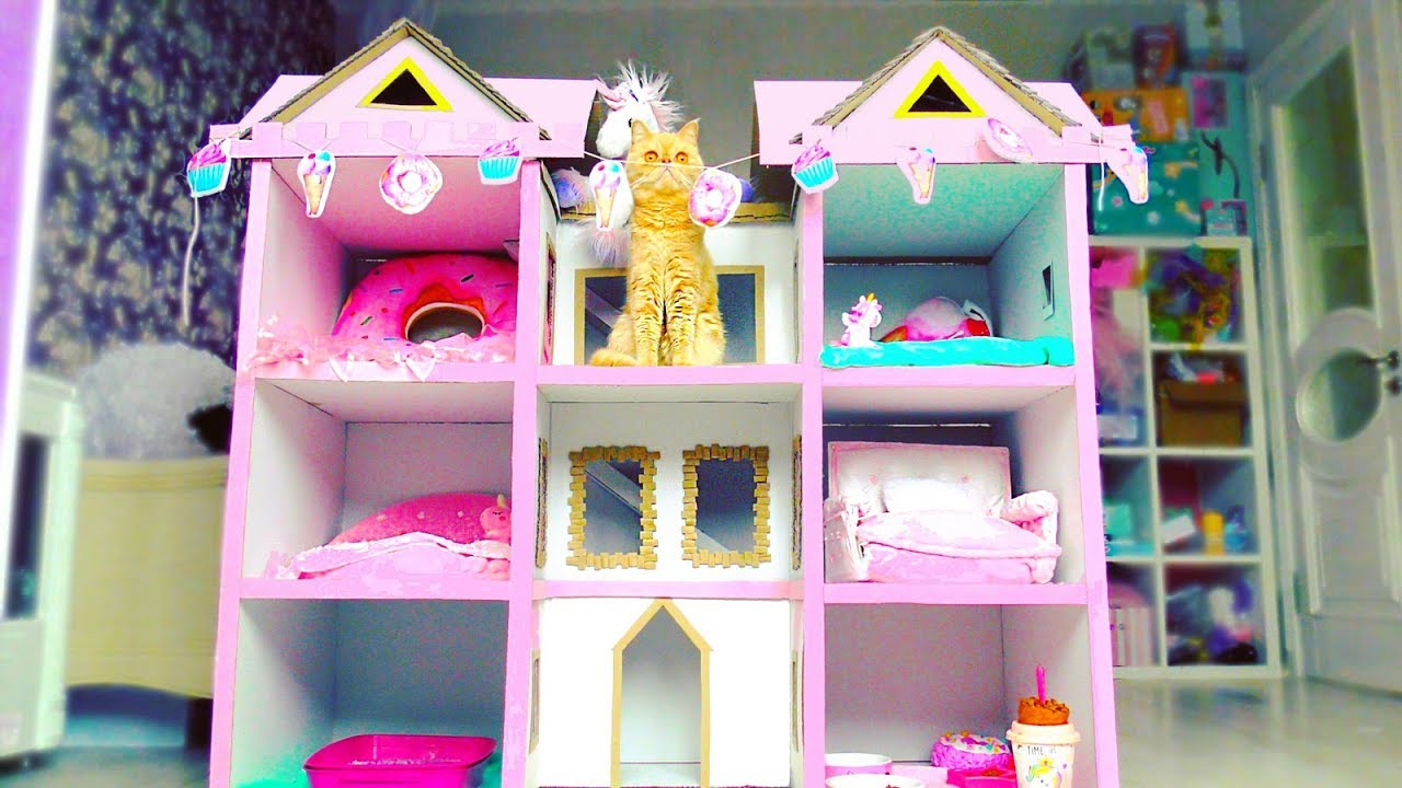Building 4 FLOORS Kitten Cat Pet House from Cardboard  !