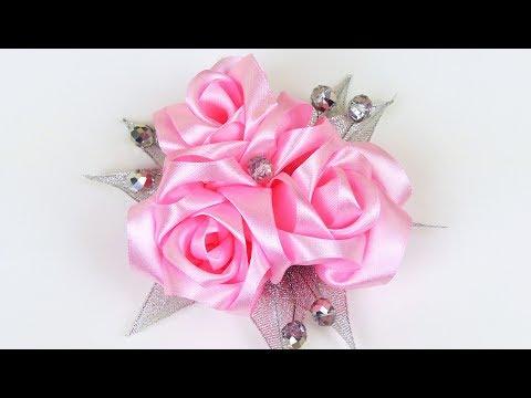 How to make ribbon roses hair clip I DIY Flower Hairclip I Kanzashi flowers