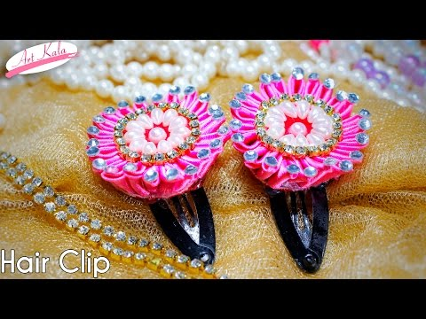 DIY kanzashi flower hair clips | hair accessories | Tutorial | Artkala 138