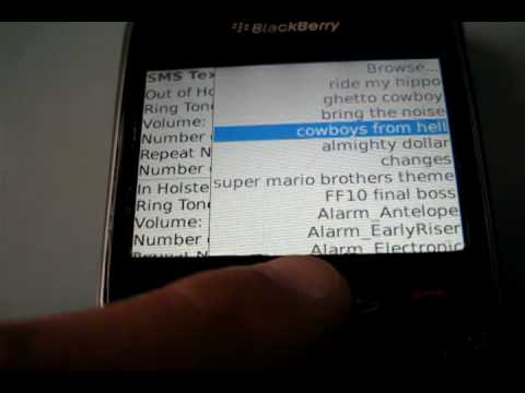 How to set up sounds for texts and emails in Blackberry 8330 Curve