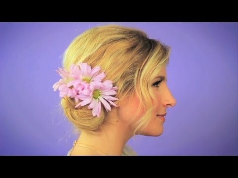 Easy Messy Hair Bun with Flowers - Beauty Bite with Mr. Kate | The Platform
