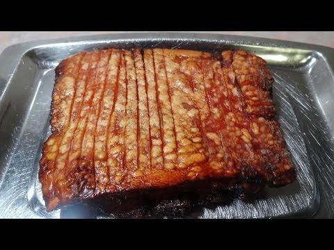 Crispy Marinated Pork Belly in the coal fired Weber Kettle