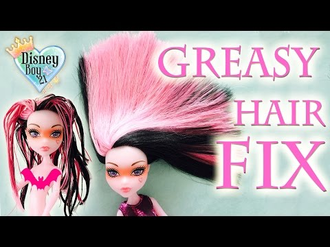 How to Fix / Wash Greasy Sticky Doll Hair Tutorial - Monster High, Ever After High, Barbie