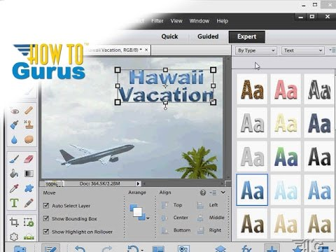 How to Add Photoshop Elements Text Effects - Adobe Photoshop Elements 11 12 13 14 15 Tutorial