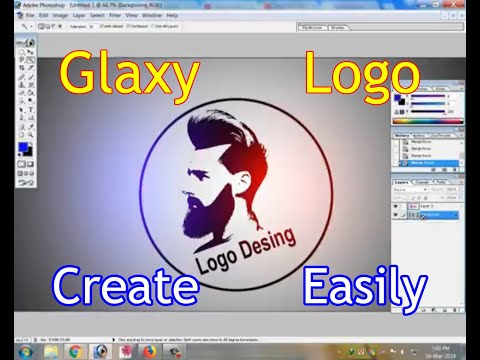 Man Face Galaxy  logo desing in photoshop 7