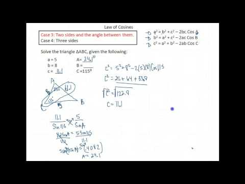 Trig U2A2 Law of Cosines Given 2 sides and the angle between