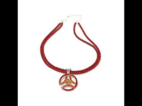 Jay King Citrine and Coral Pendant with Necklace