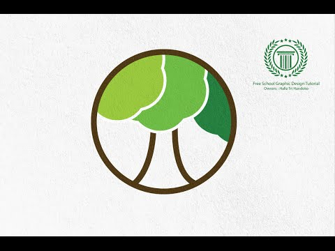 Tutorial Adobe illustrator CS6 | How to make circle tree logo design | No CorelDraw X8