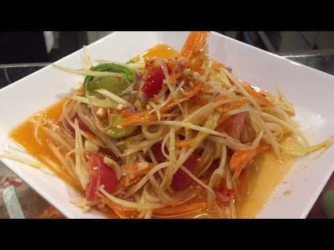 Making Som Tum (Green Papaya Salad - thai salad) - ส้มตำ