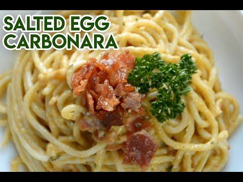 Creamy Salted Egg Carbonara - Easy Pasta Recipe