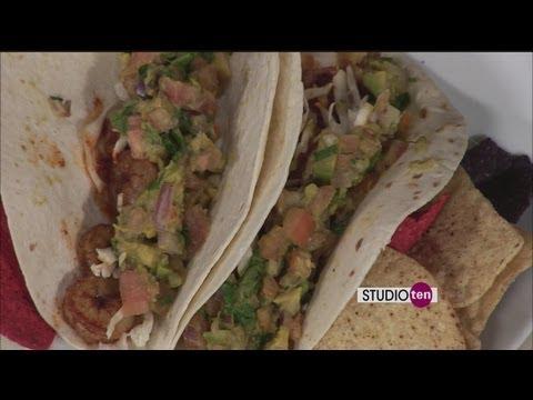 Studio 10:blackened shrimp tacos with avocado salsa