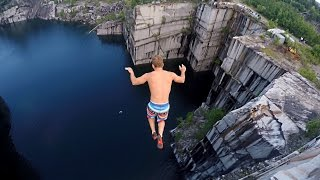 Cliff Jumping in Vermont 110 feet