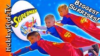 Giant SUPERMAN Egg Adventure with the HobbyKids