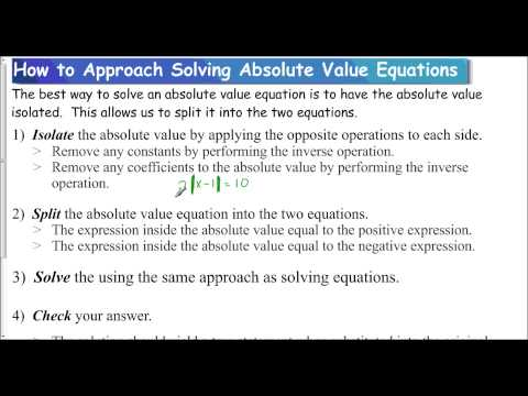Lesson 1.3 - How to Approach Solving Absolute Value Equations