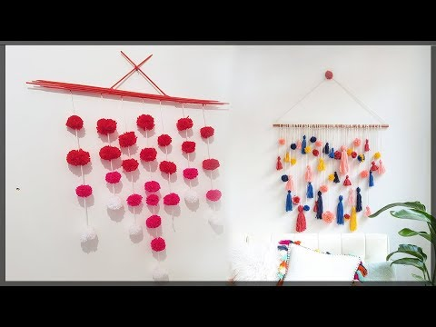 Wall Hanging Crafts Valentines room decor ideas - Decorations - DIY with Pom Pom-Wall Decor -