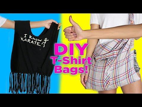 DIY T-Shirt Bag / No Sew / 2 DIY T Shirt Tote Bags / Easy DIY