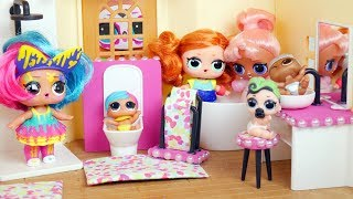Download NEW LOL Surprise Dolls Custom Bathroom Playset - Morning Routine Fuzzy Pets Video