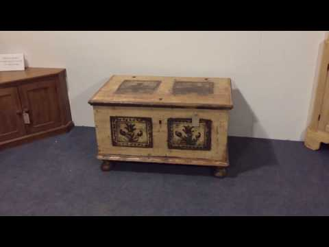 19th Century Painted Marriage Trunk Chest  - Pinefinders Old Pine Furniture Warehouse