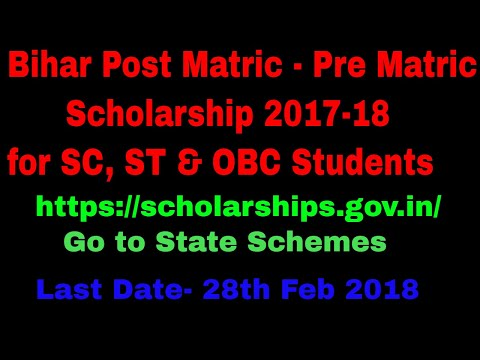 Apply Online Bihar Post Matric Scholarship 2017-18 via National scholarship portal