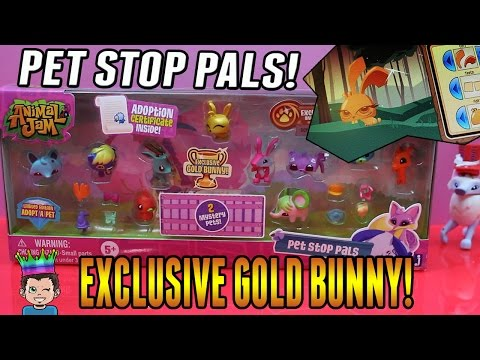 Animal Jam - Pet Stop Pals - New Playset With Exclusive Gold Bunny & Game Code!