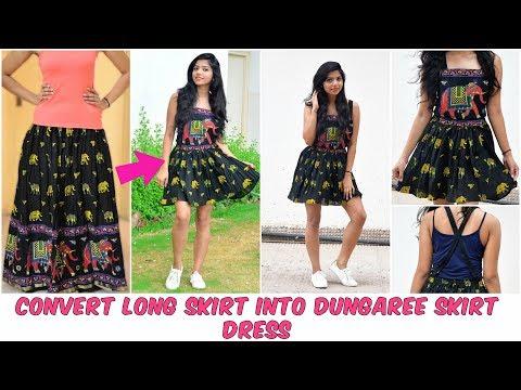 DIY: Convert Long Skirt Into Dungaree Skirt Dress