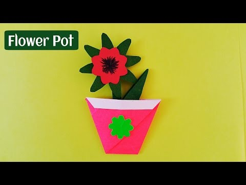 How to make a Easy and Simple Paper Flower Pot - Origami