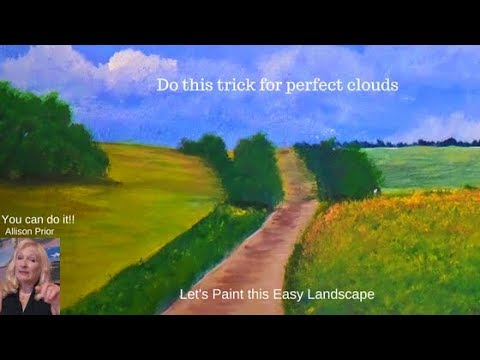 An easy TRICK to perfect CLOUDS, How to Paint a simple LANDSCAPE with Acrylic paint for beginners