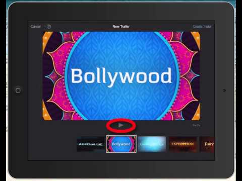 Selecting a trailer template on iMovie 2 for iPad