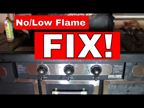 Barbecue BBQ Gas Tank Regulator Change--WHEN RESETTING DOES NOT WORK--   FIX Low/No Flame!