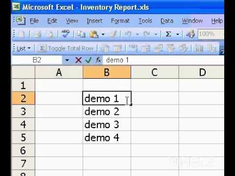 Microsoft Office Excel 2003 Edit cell contents