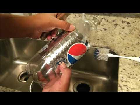 Removing soda bottle labels easily.