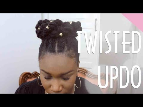 NATURAL HAIRSTYLE IDEA FOR MEDIUM LENGTH TWISTED UPDO