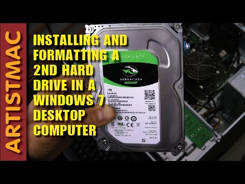 Installing, Formatting a 2nd Hard Drive in a Windows 7 Desktop Computer
