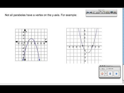Calculating the Axis of Symmetry and Vertex of a Parabola