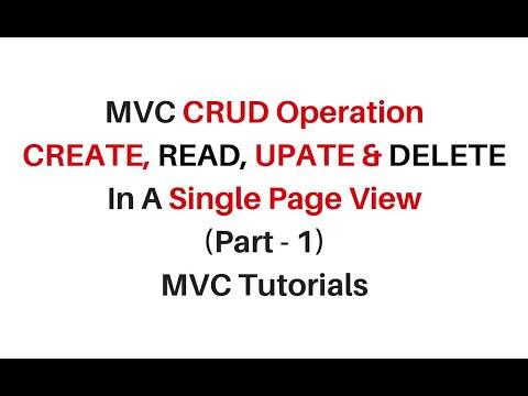 mvc single view page CRUD Opeartion jquery json c#4.6