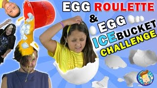 EGG ROULETTE CHALLENGE w/ Raw Egg Ice Bucket Dump on Dallas the Pizza Guy   FUNnel Vision Messy Kids