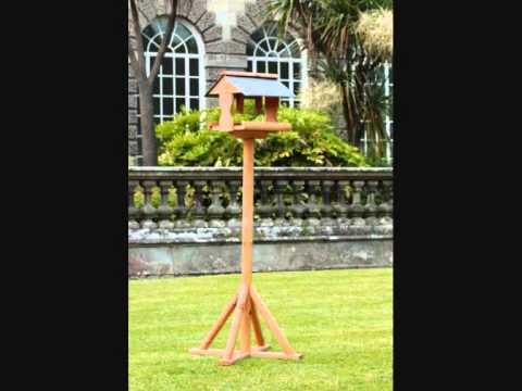 wooden garden bird tables
