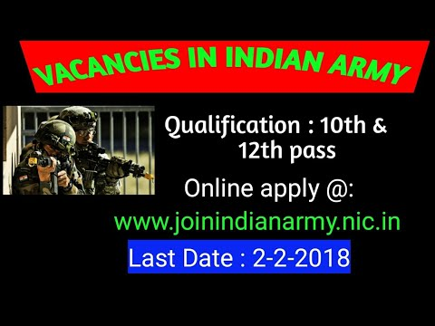 Vacancies in Indian Army | Indian army recruitment rally | how to apply