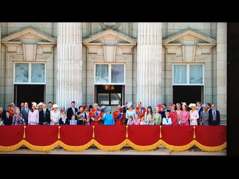 Meghan's FIRST EVER Buckingham Palace Fly Past - British Royal Family Trooping The Colour 2018