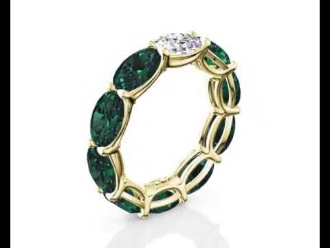 Oval Cut Emerald & Diamond Eternity Ring Yellow Gold by Arazi Diamonds