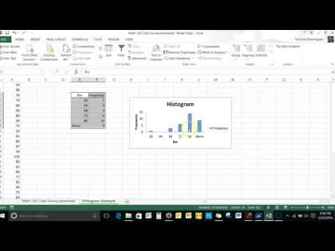 Make a Histogram Using Excel's Histogram tool in the Data Analysis ToolPak