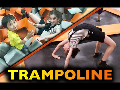 CRAZY TRAMPOLINE PARK CHALLENGE! AirTime Indoor Trampoline Family Fun video. Let's Play Kids.