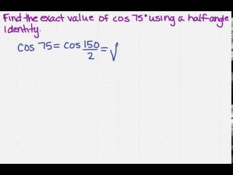find exact value using a half angle identity