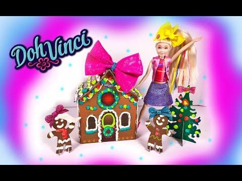 JOJO SIWA Playdoh DohVinci Gingerbread House Cookies Christmas Tree Craft - Custom DIY