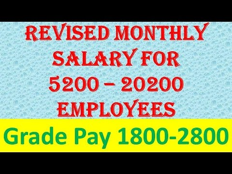 Know your Revised monthly salary as per 7th pay commission, Grade Pay 1800 to 2800