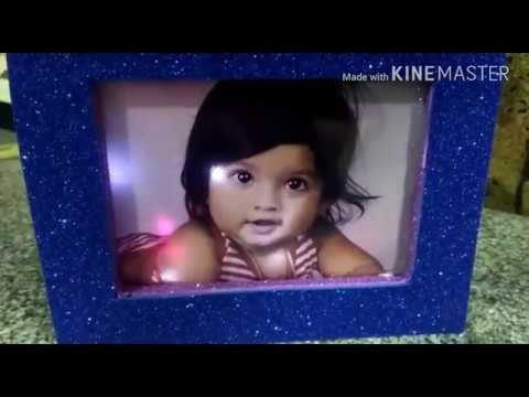 How to make a glowing cardboard photo frame/LED photo frame making/Diy picture/photo frame