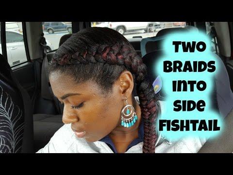 Two Braids into Side Fishtail Braid