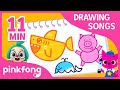 How to draw a Baby Shark and more | +Compilation | Drawing Songs | Pinkfong Songs for Children